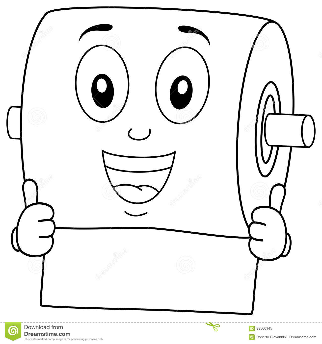 Funny Toilet Paper Smiling Character Vector Illustration