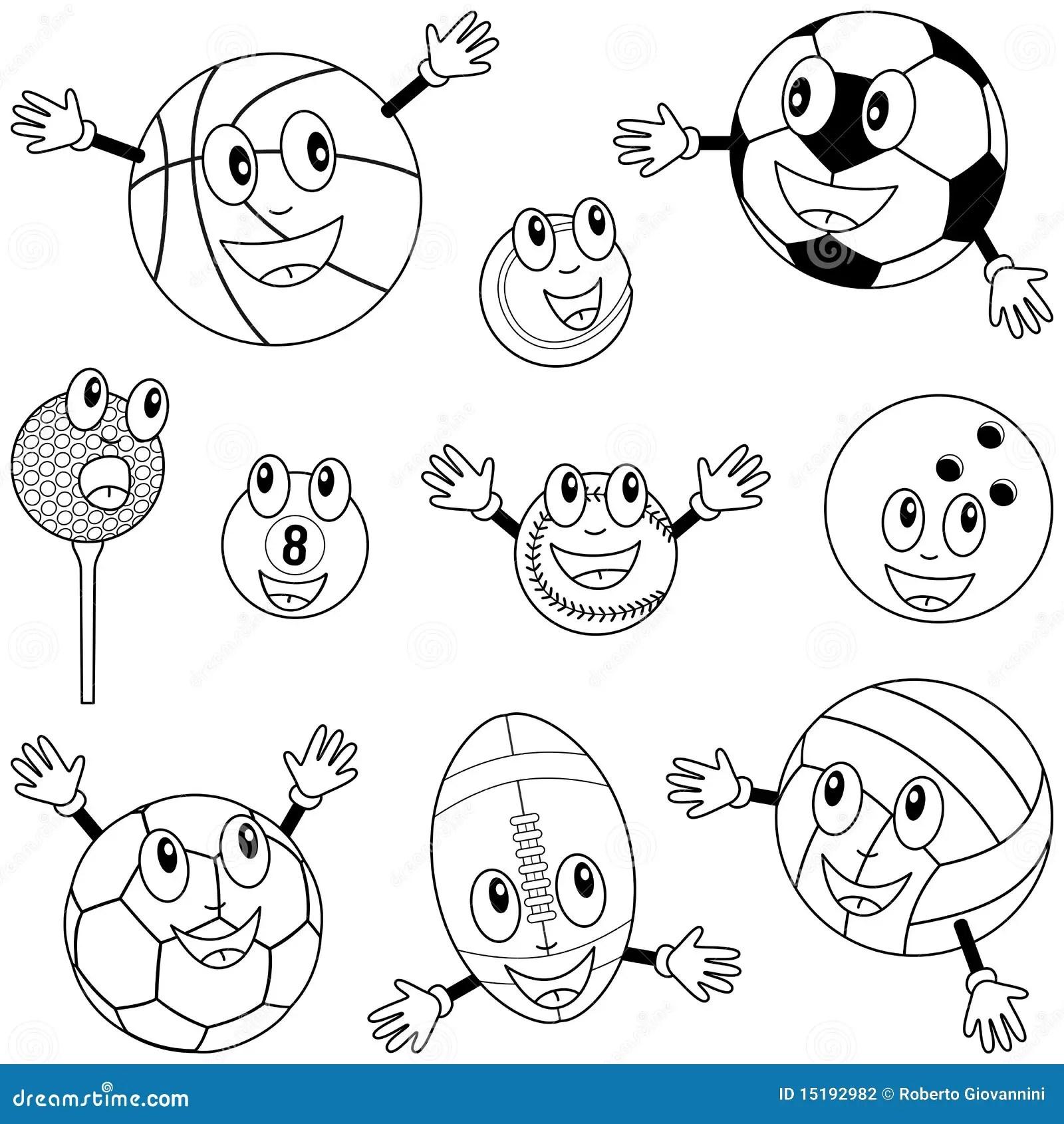Coloring Sport Balls Characters Stock Vector