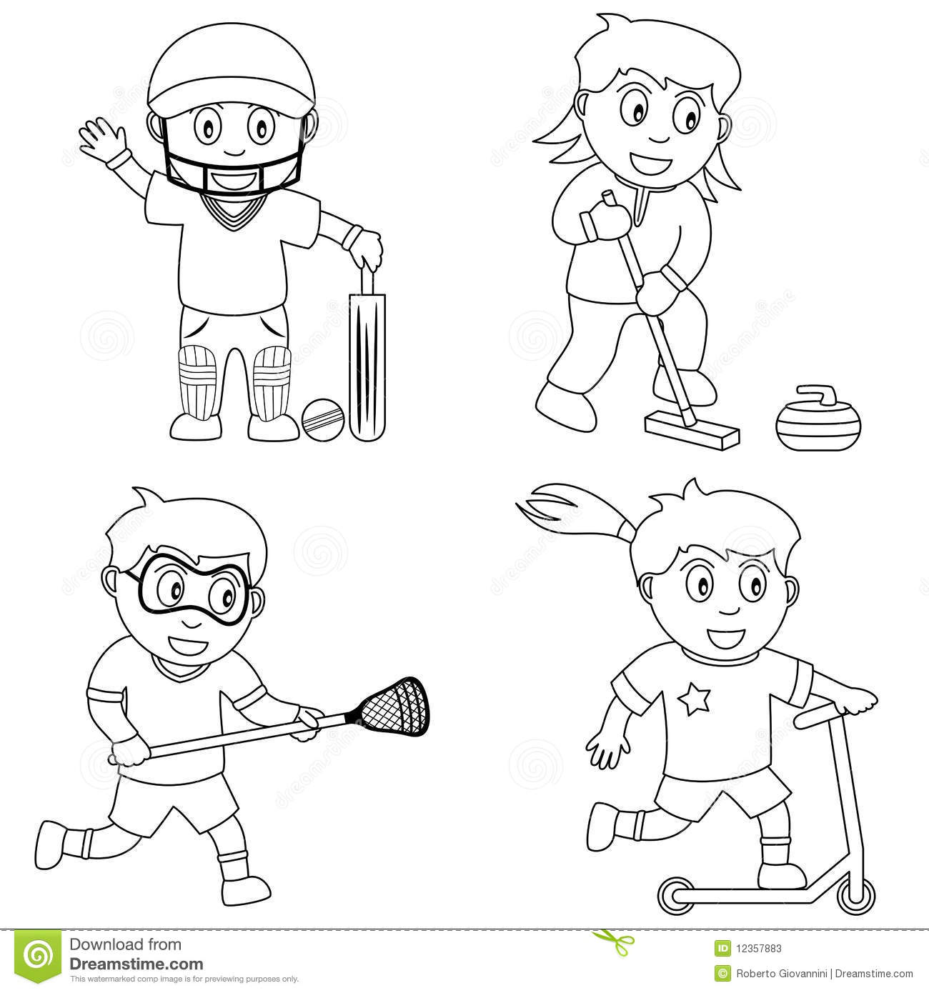 Coloring Sport For Kids 6 Stock Vector