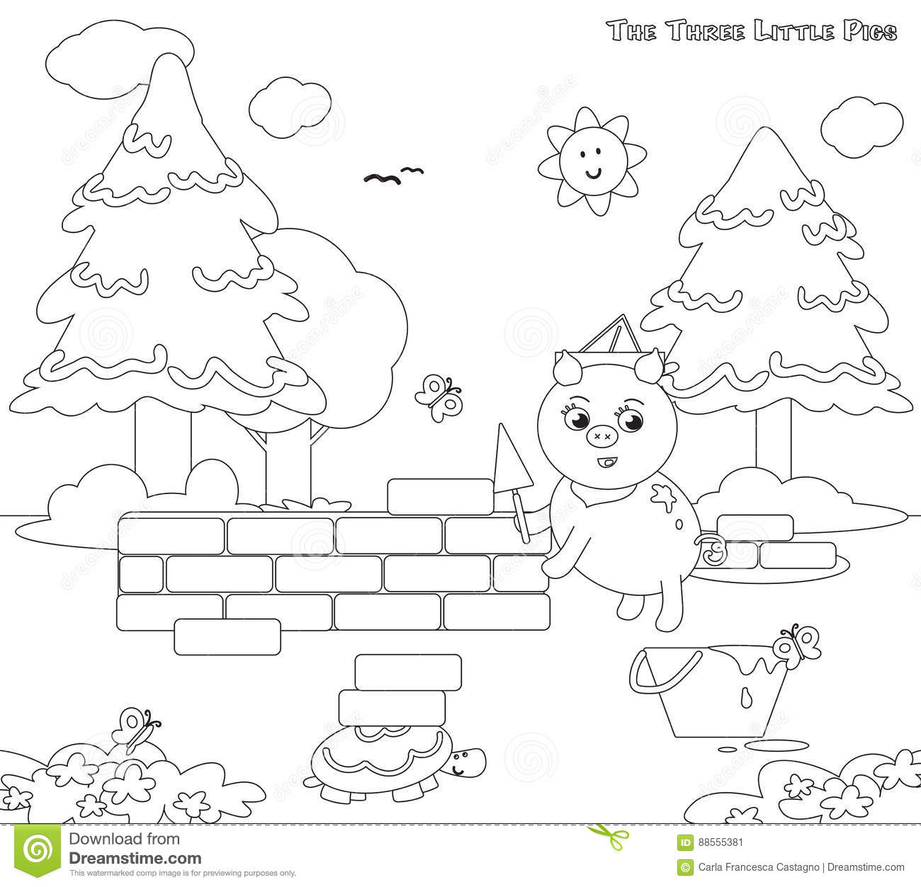 Coloring Three Little Pigs 7 The Bricks House Cartoon