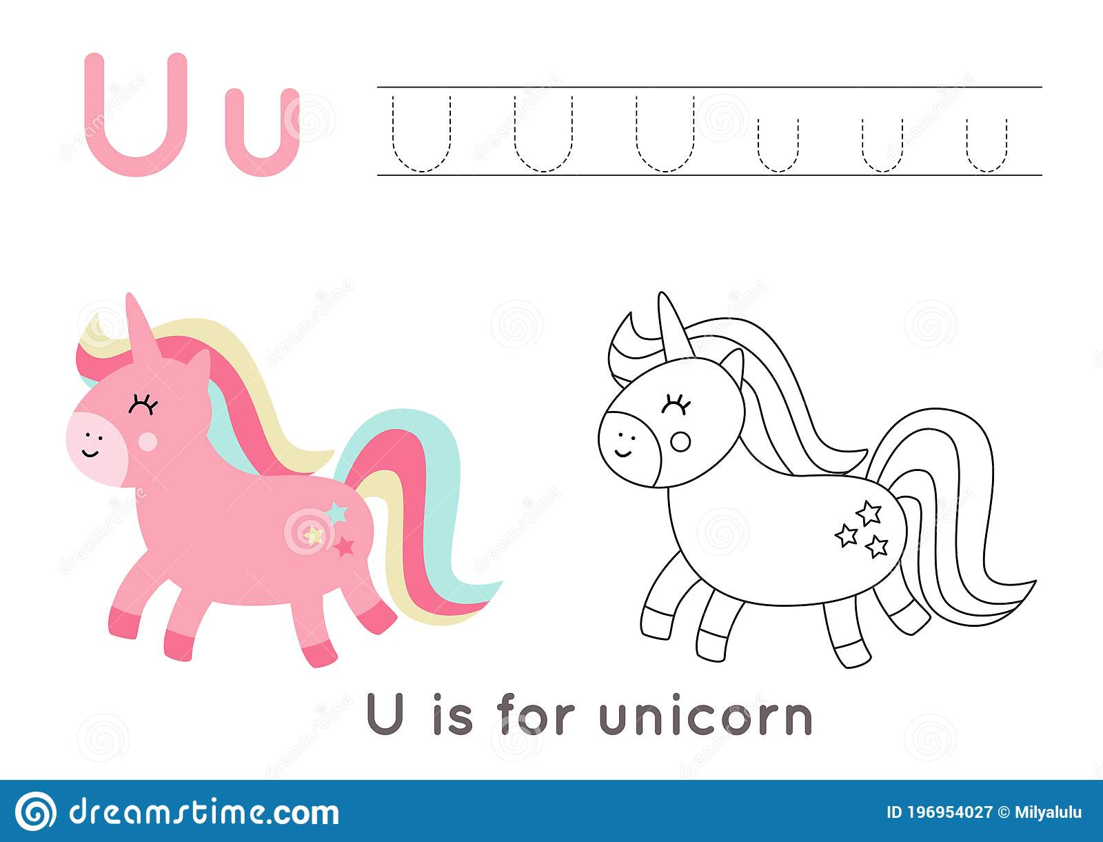 Coloring And Tracing Page With Letter U And Cute Cartoon