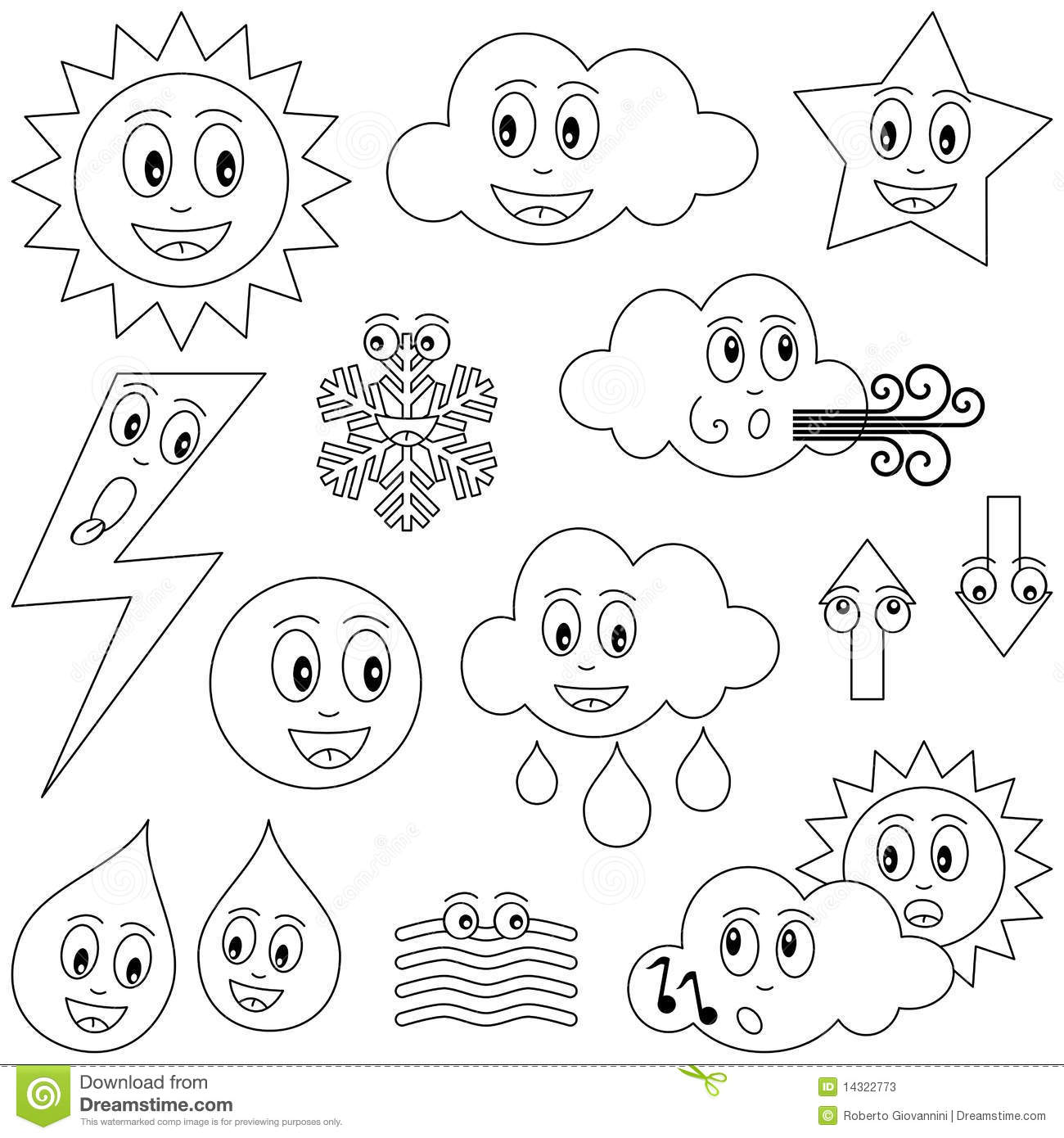 Coloring Weather Characters Stock Vector