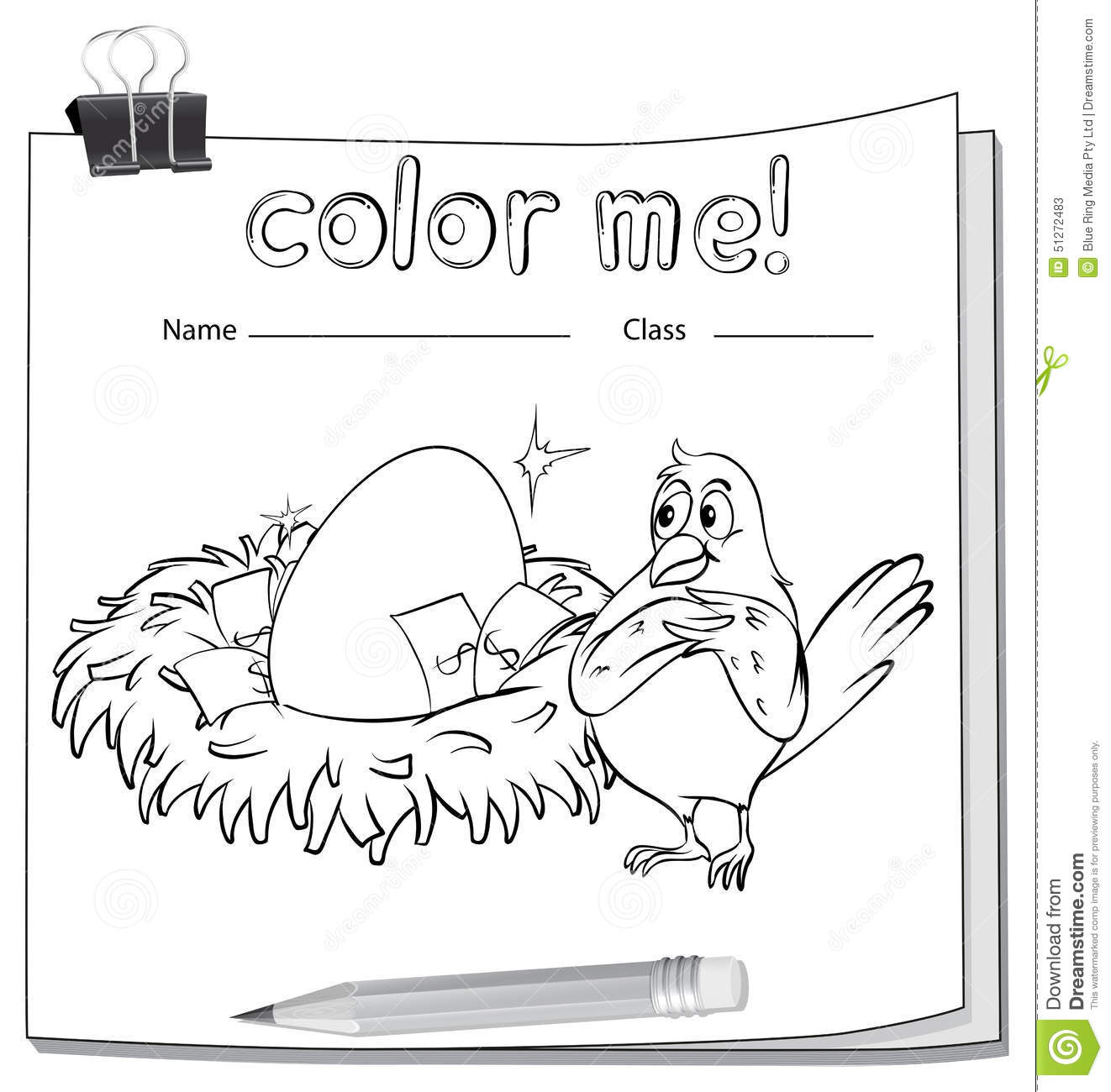 Coloring Worksheet With A Bird Beside The Nest Stock