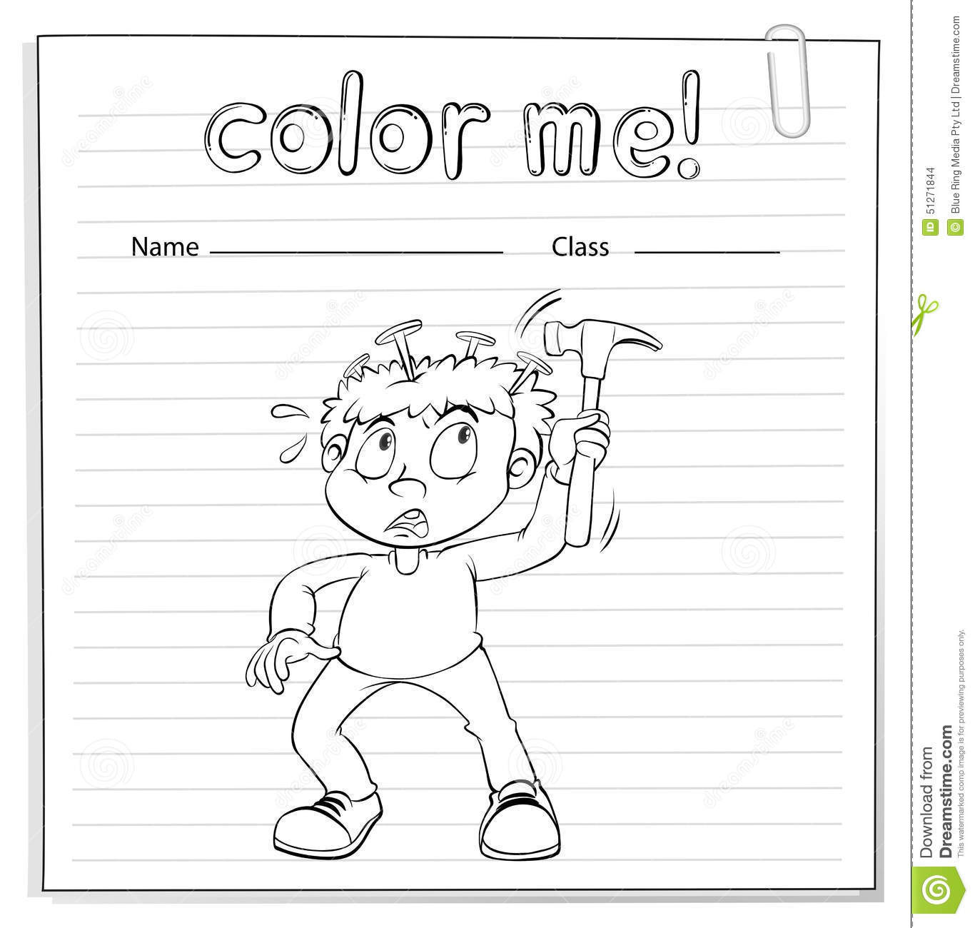Coloring Worksheet With A Boy Holding A Hammer Stock