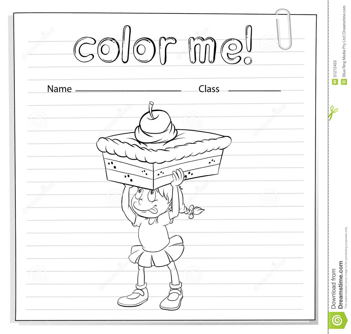Coloring Worksheet With A Girl Carrying A Cake Stock