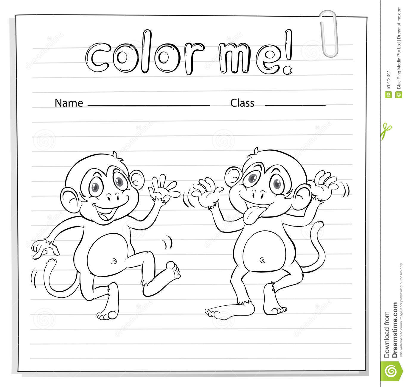 Coloring Worksheet With Monkeys Stock Vector