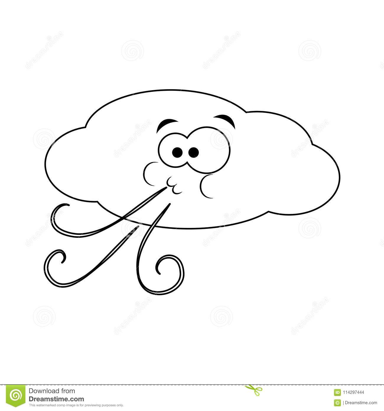 Colorless Funny Cartoon Cloud Blows Wind Vector