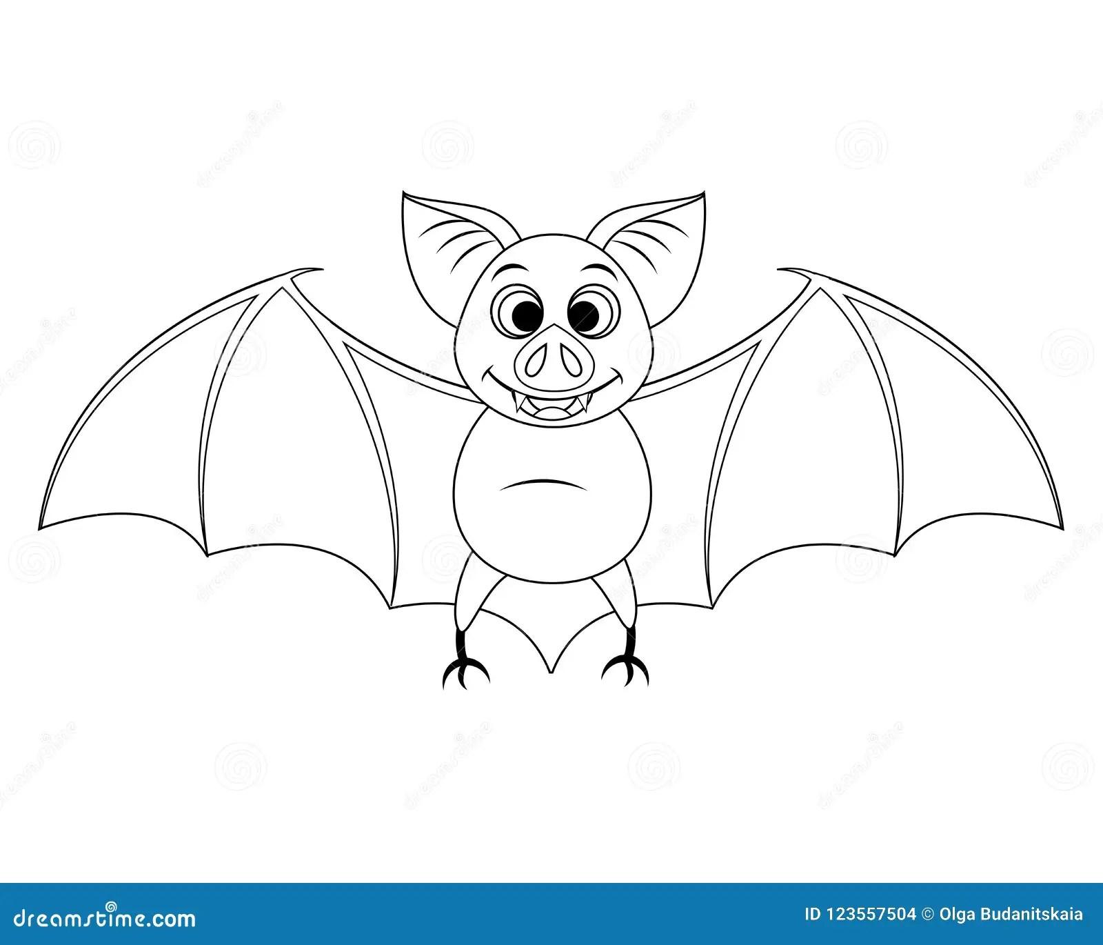 Colorless Funny Cartoon Halloween Bat Flying Vector