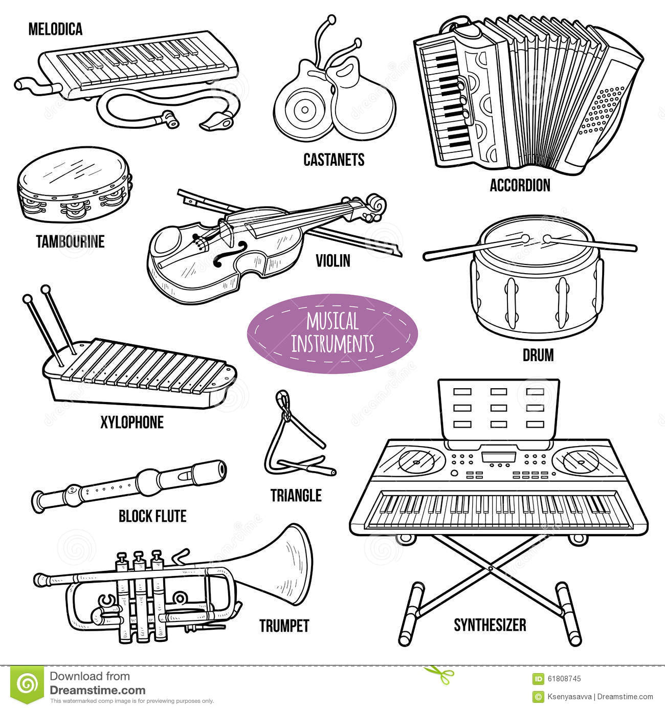 Colorless Set With Musical Instruments Stock Vector