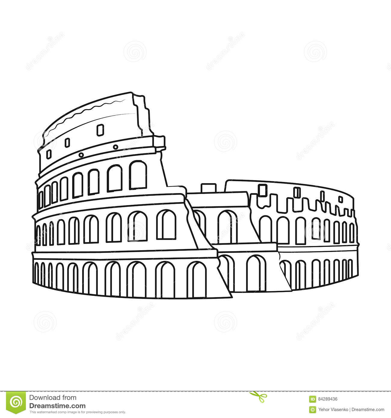 Colosseum In Italy Icon In Outline Style Isolated On White