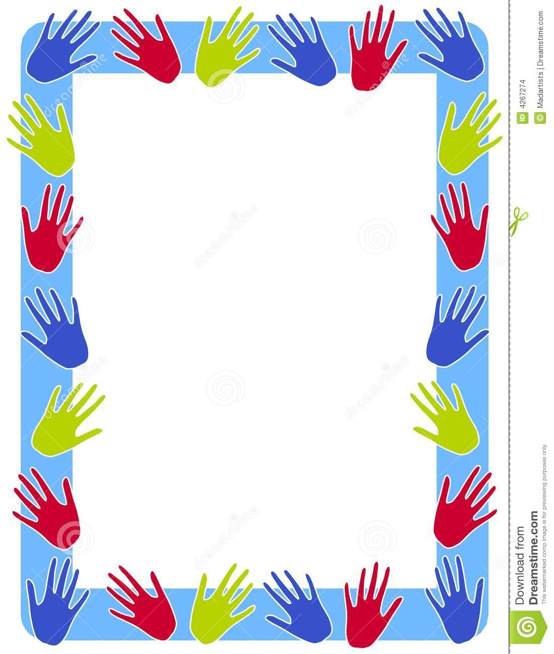 Colourful Hand Prints Frame Border Stock Illustration