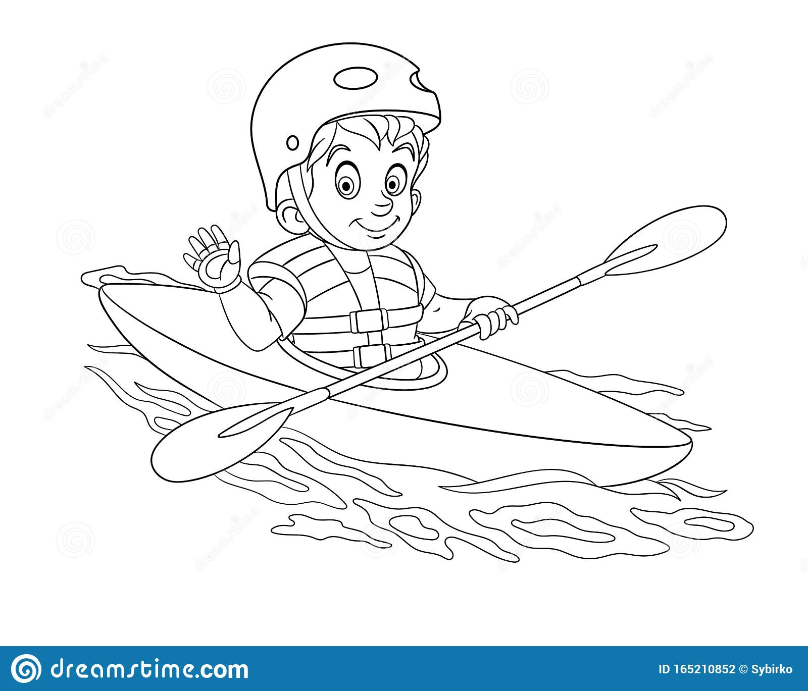Coloring Page With Boy Canoeing Extreme Sport Kayaking