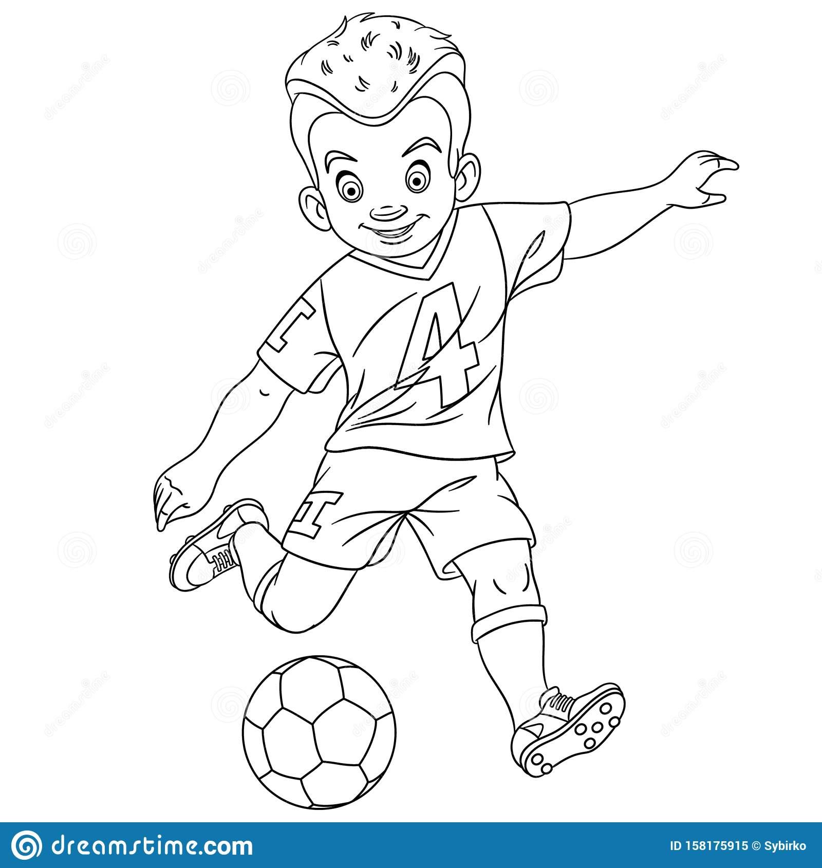 Coloring Page With Footballer Football Player Stock Vector Illustration Of Footballer Beautiful 158175915