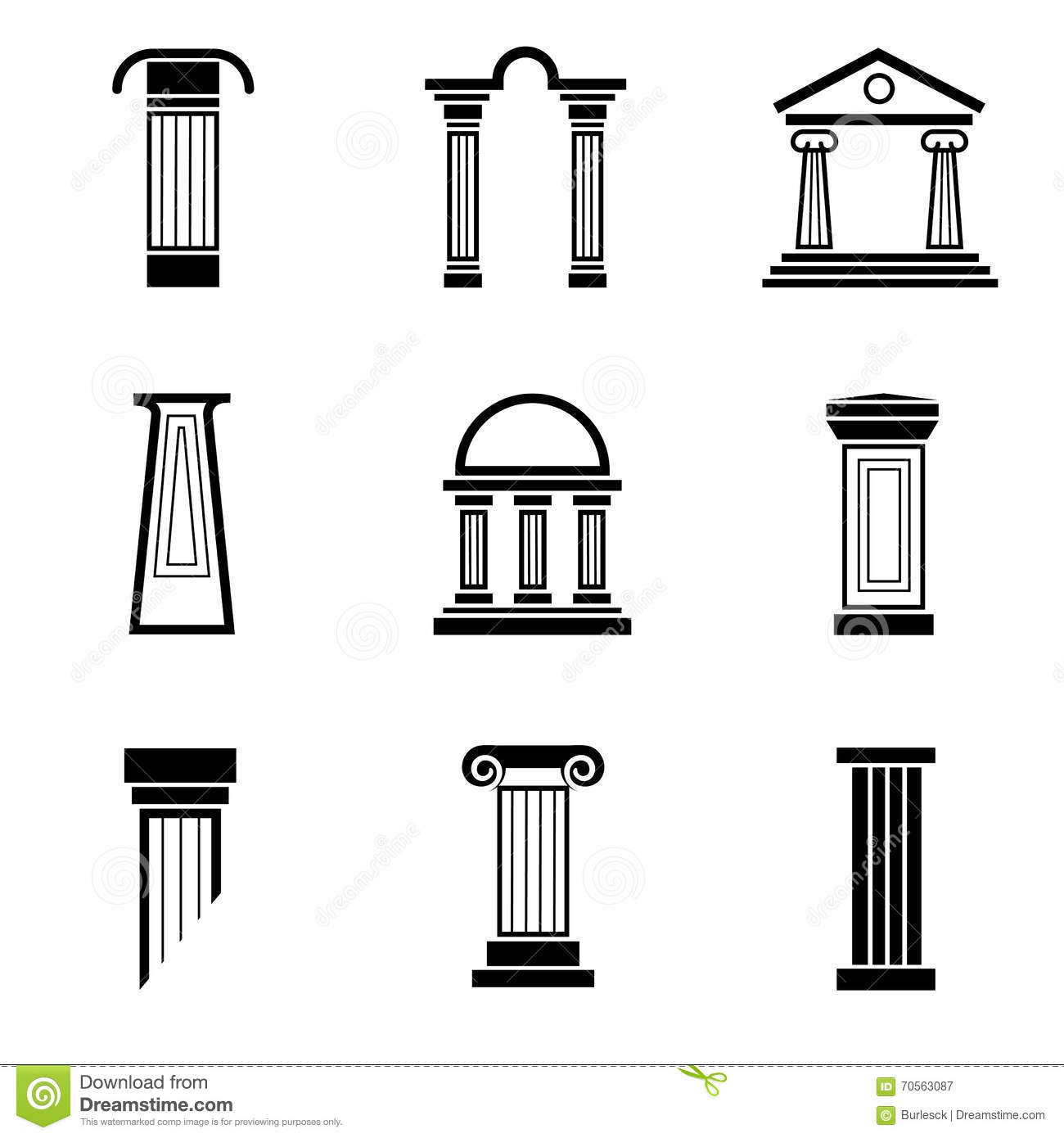 Column Black Vector Icons Stock Vector