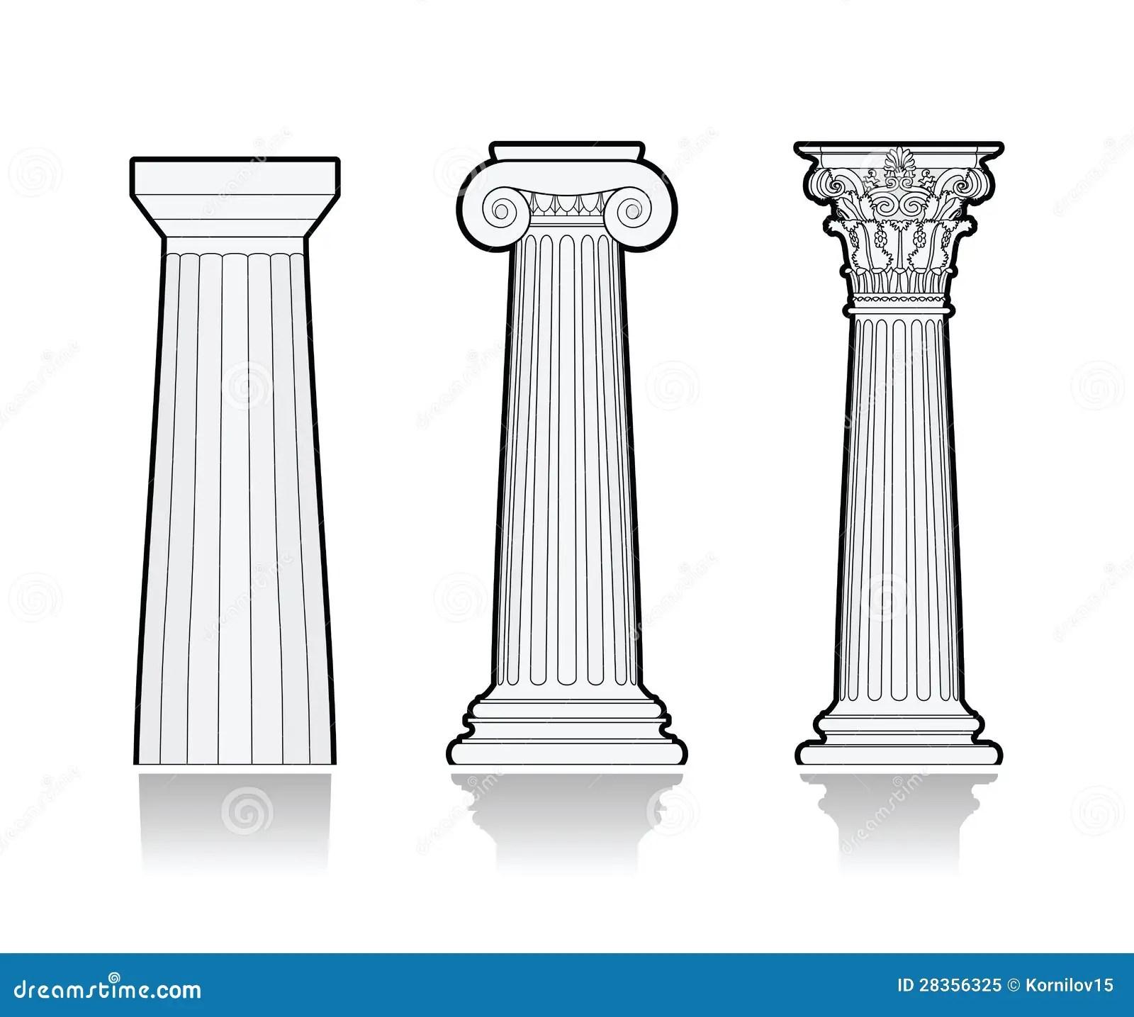 Columnas Griegas Estilizadas Ilustracion Del Vector