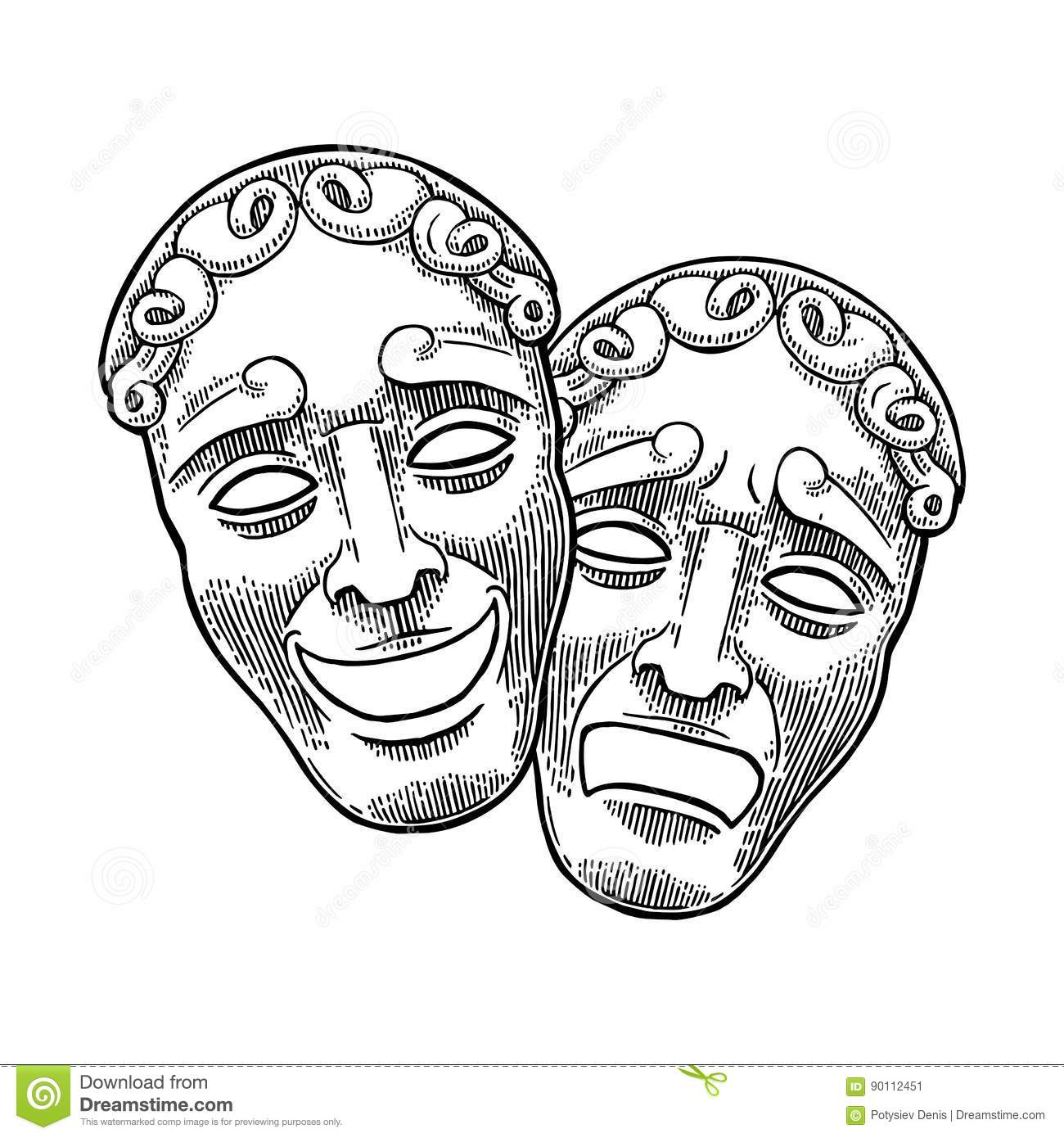 Comedy And Tragedy Theater Masks Vector Engraving Vintage