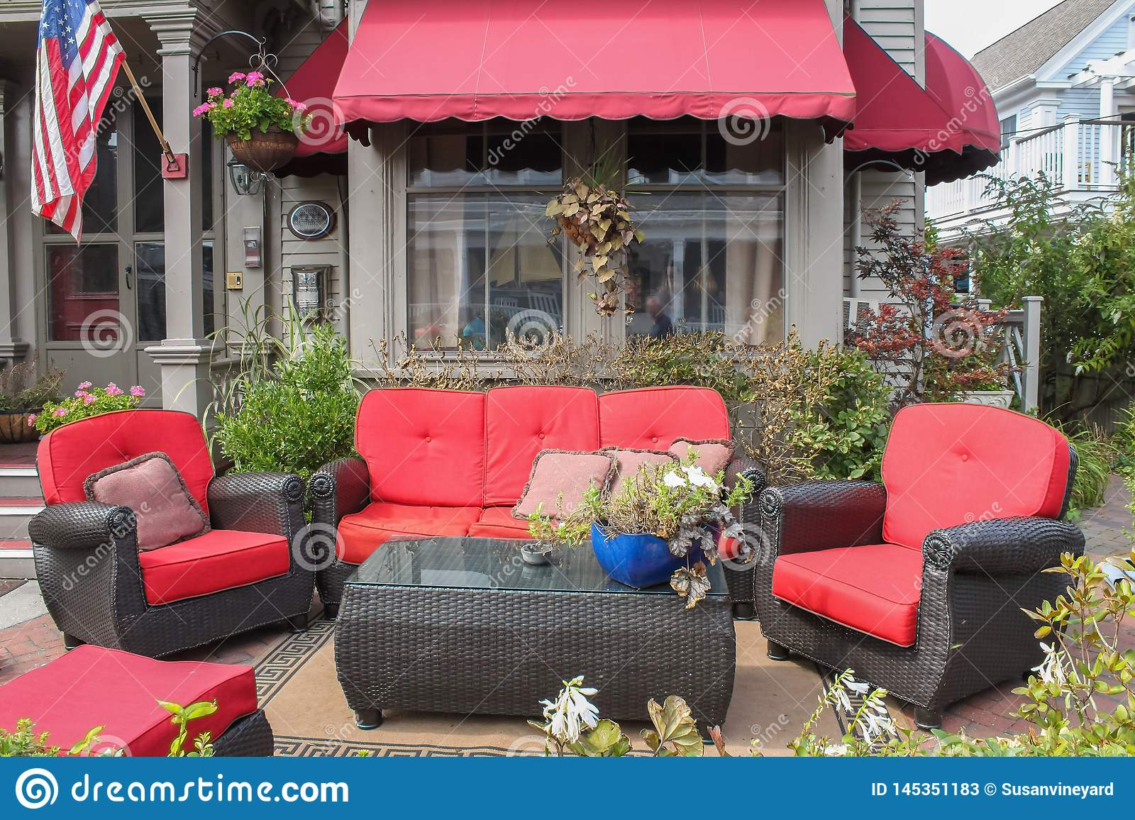 https www dreamstime com comfortable red outdoor furniture outside b new england window awning behind image145351183