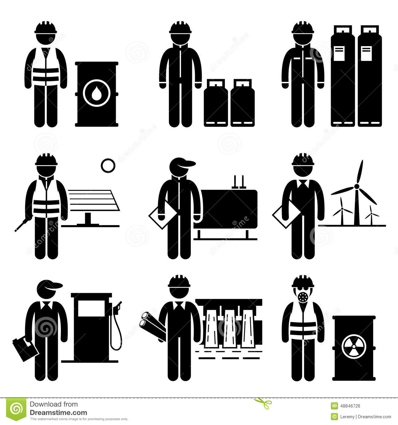Commodities Energy Fuel Power Icons Stock Illustration