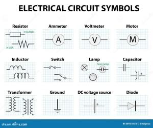 Common Circuit Diagram Symbols Stock Vector  Illustration of capacitor, graphic: 68934130