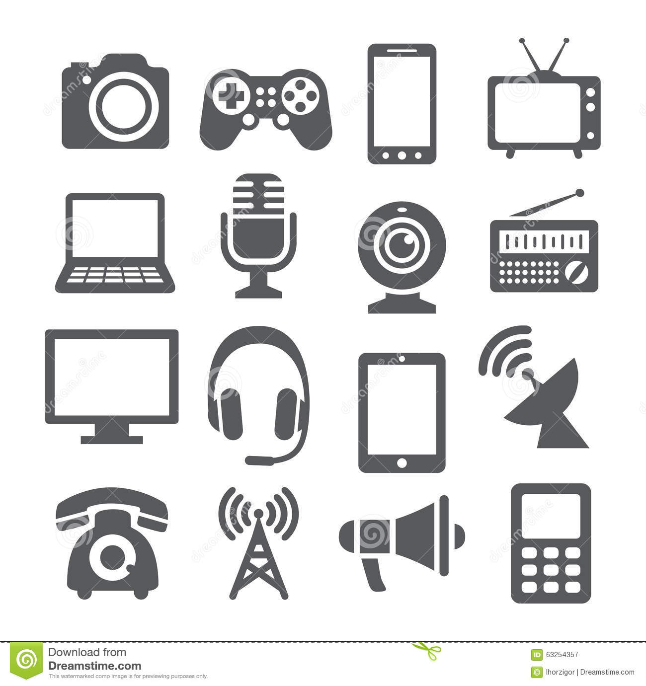 Communication Device Icons Stock Vector