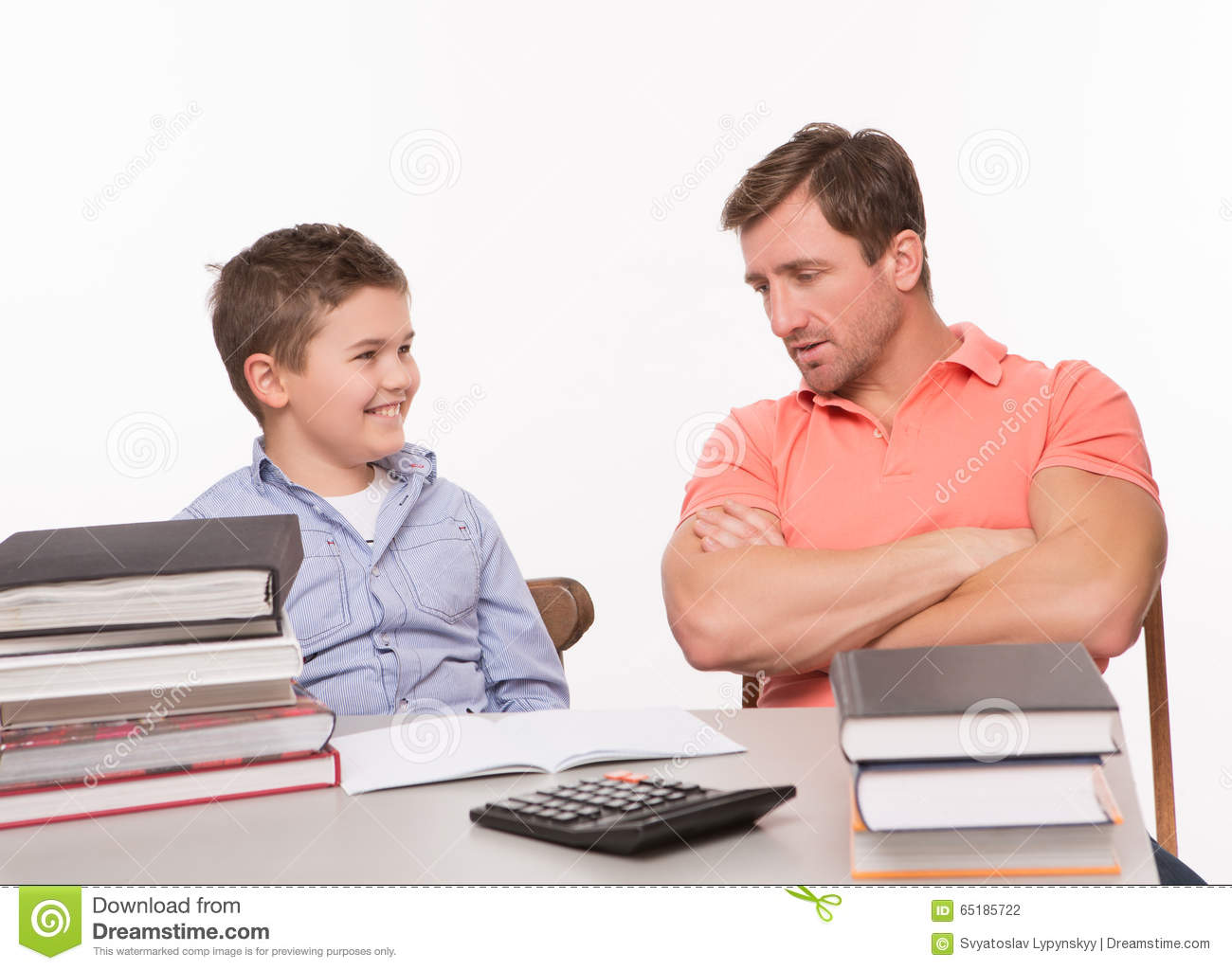 Communication Between Father And Son Stock Photo