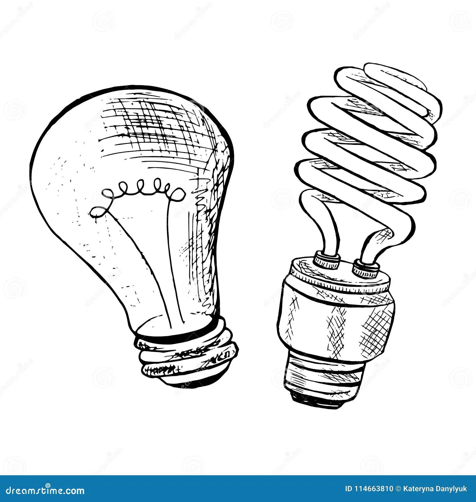 Compact Fluorescent Light Bulb Sketch Vector Illustration
