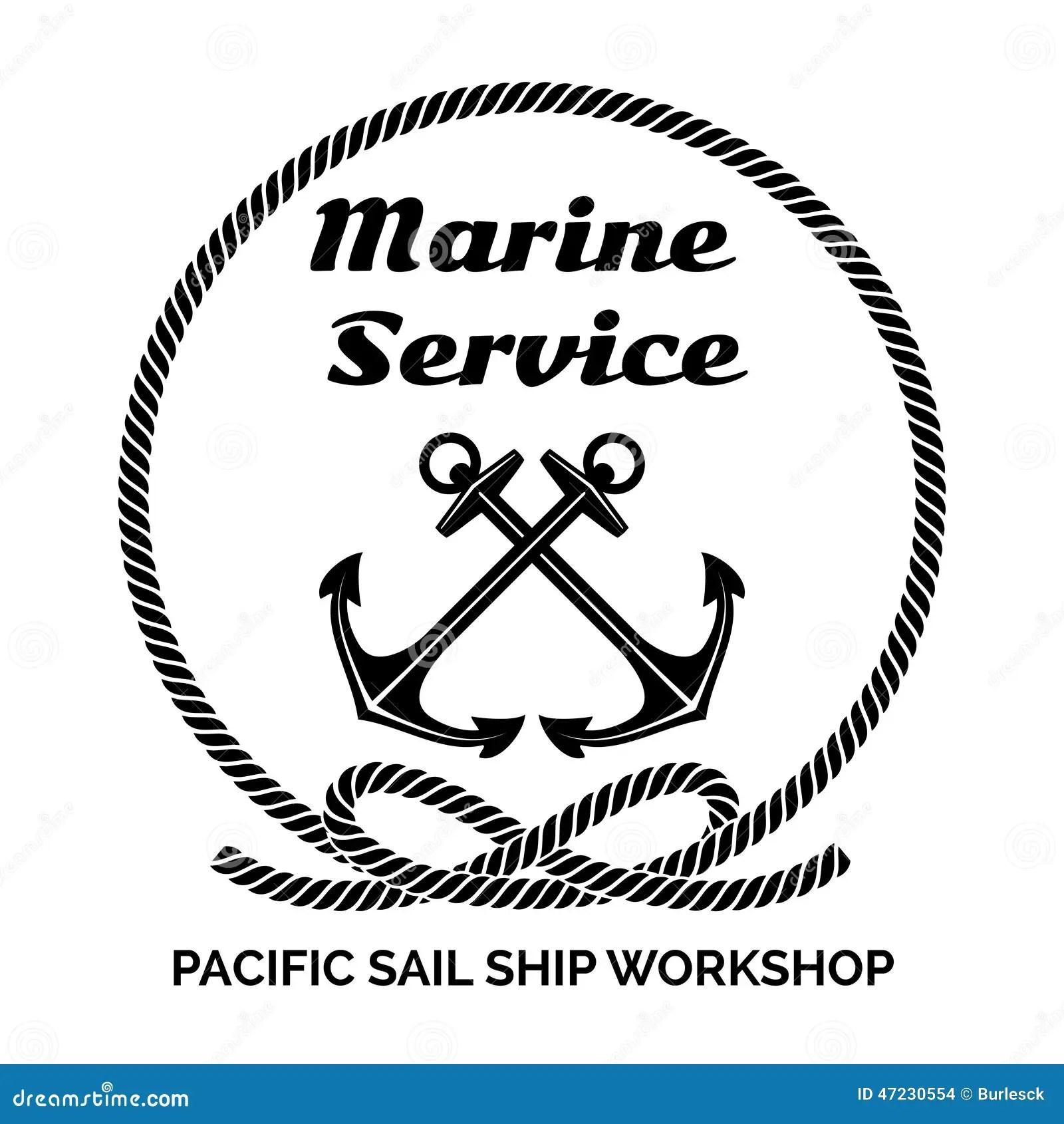 Company Logo Design For Marine Service Stock Vector
