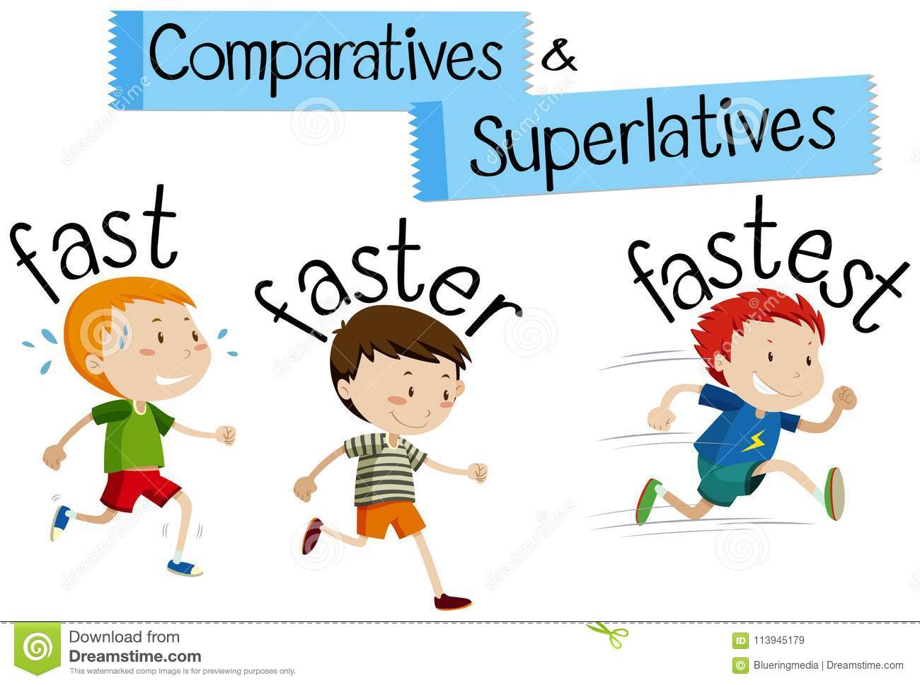 Comparatives And Superlatives Word For Fast Stock Vector