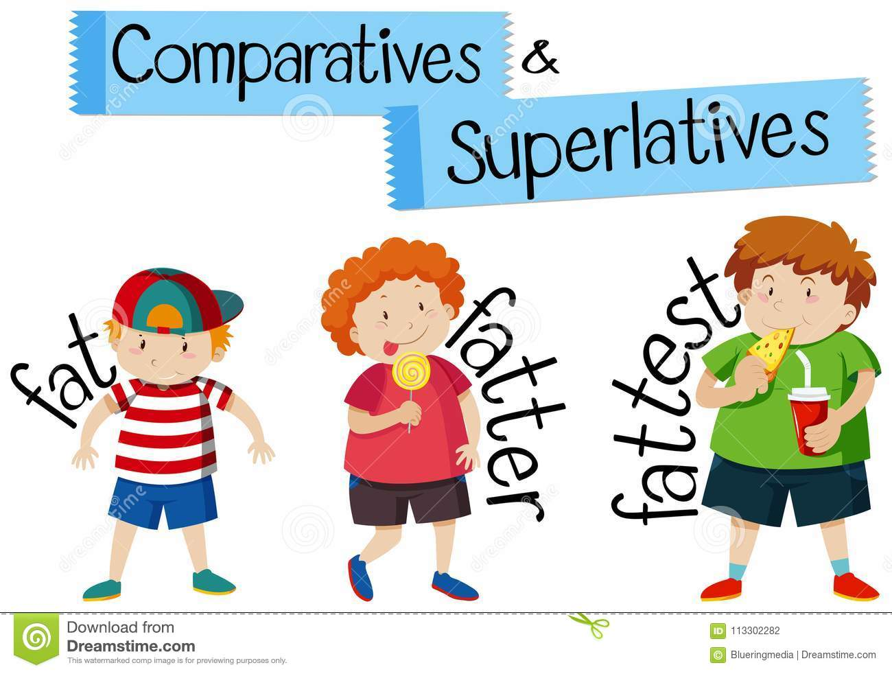 Comparatives And Superlatives For Word Fat Stock Vector