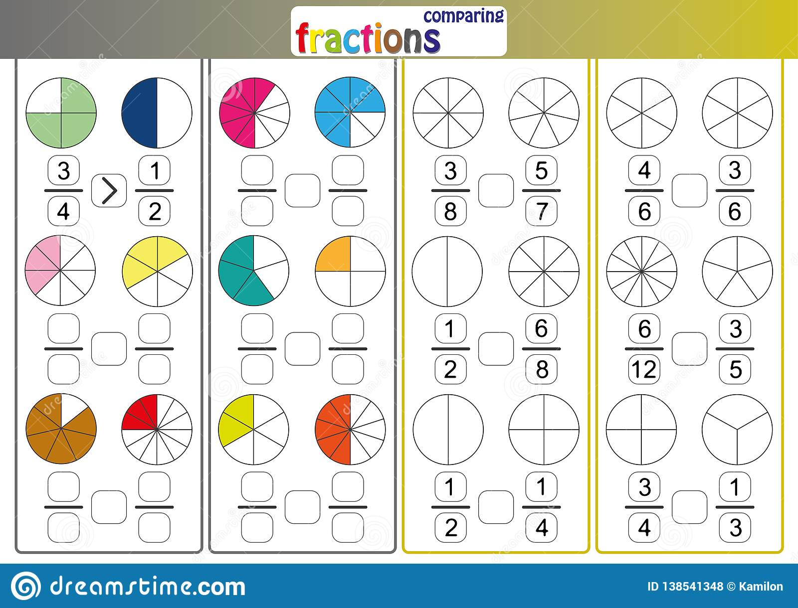 Comparing Fractions Use Less Than Or More Than Sign