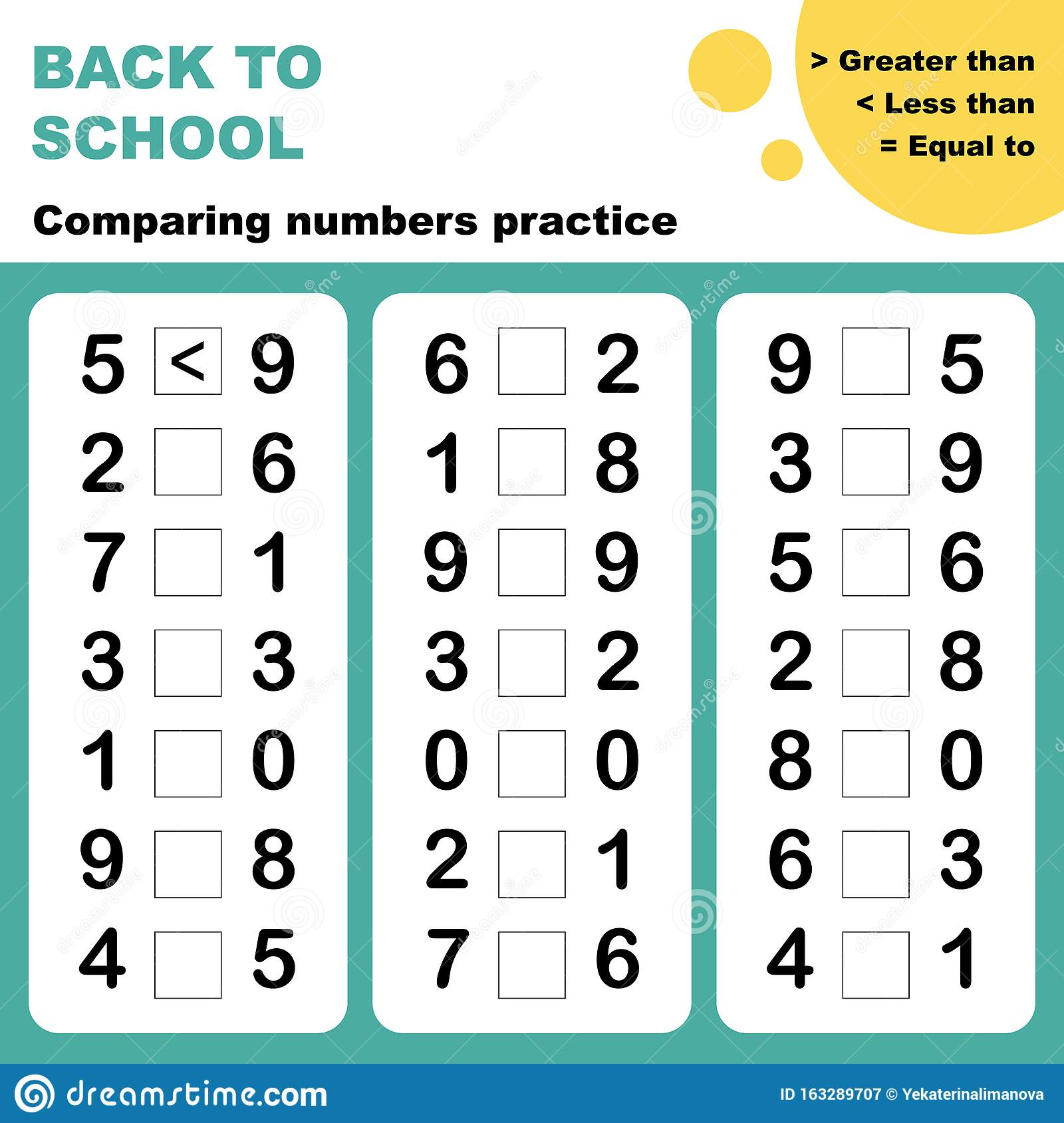 Comparing Numbers Worksheet Stock Vector