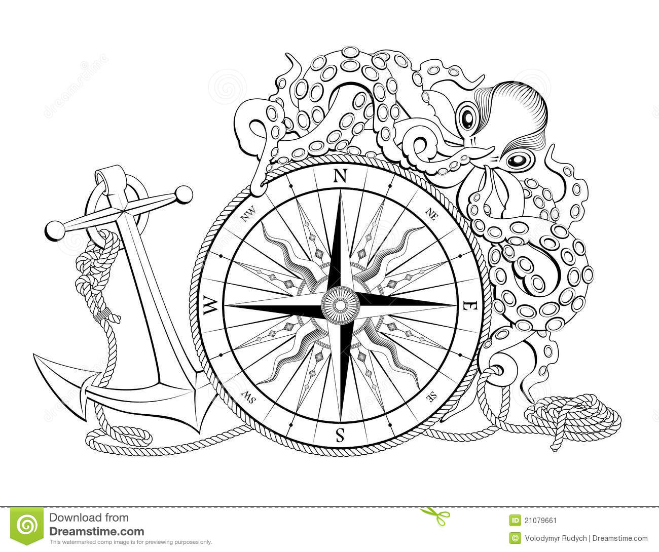 Compass With Anchor And Octopus Stock Vector