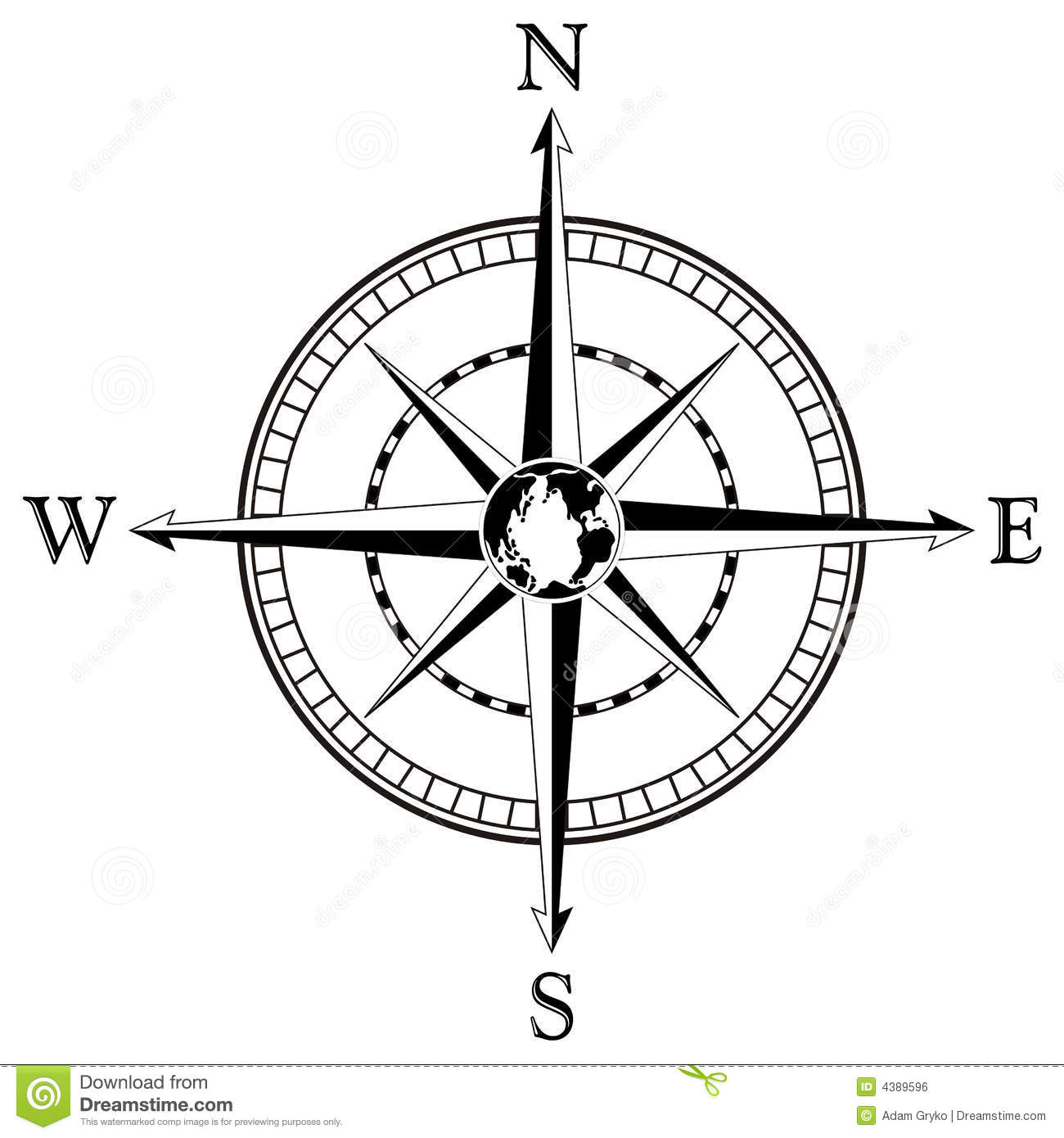 Compass Rose Illustration Stock Vector Illustration Of