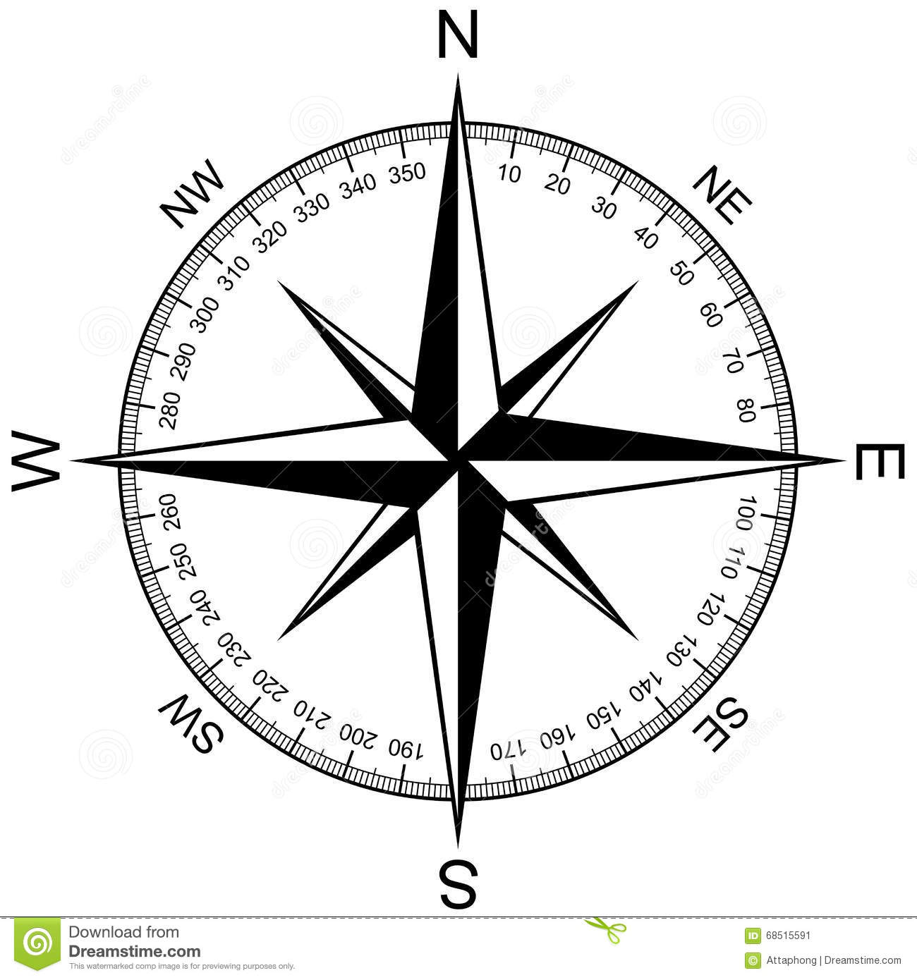 Compass Rose Isolated On White Vector Stock Vector