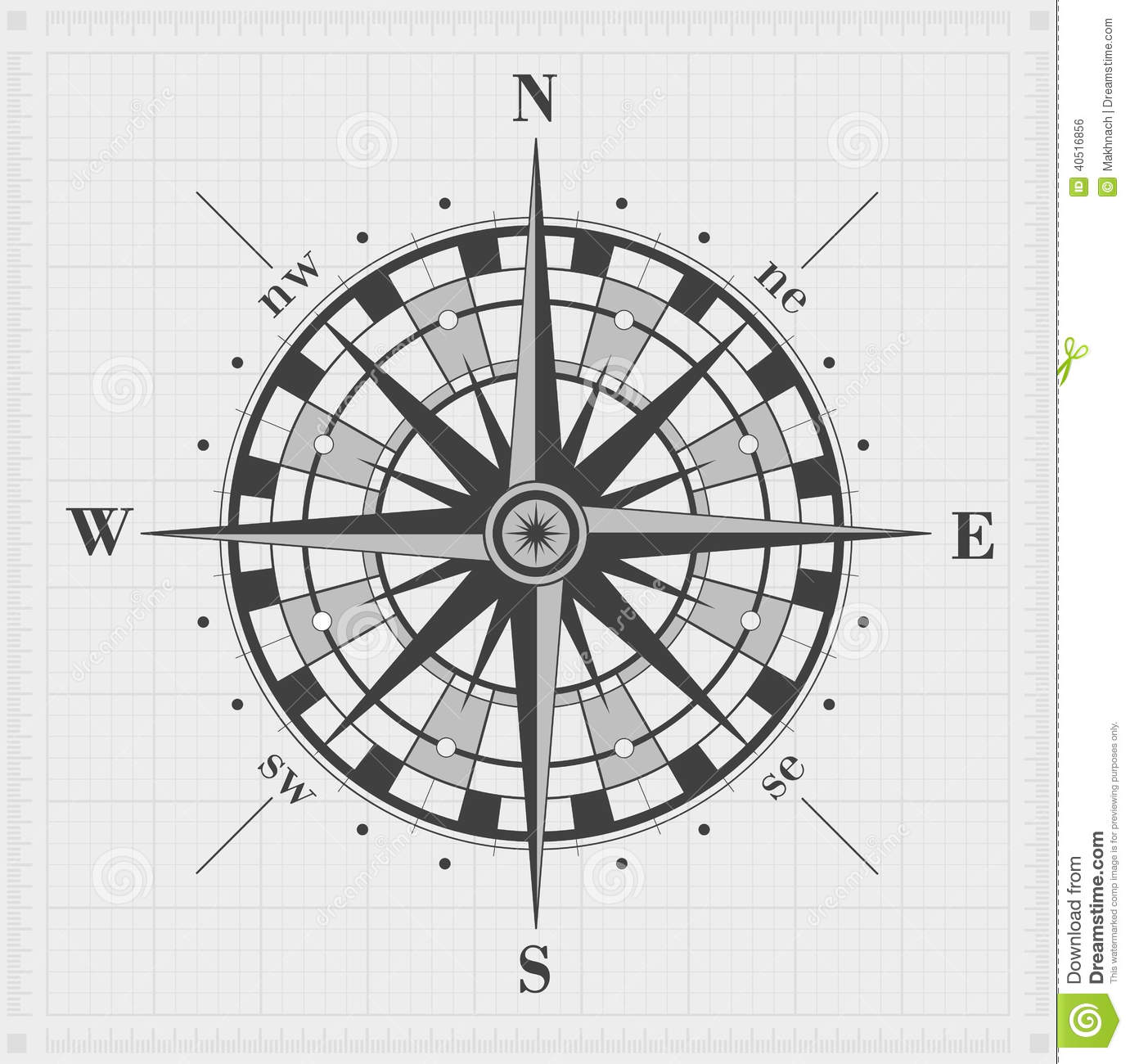 Compass Rose Over Grid Stock Vector Illustration Of