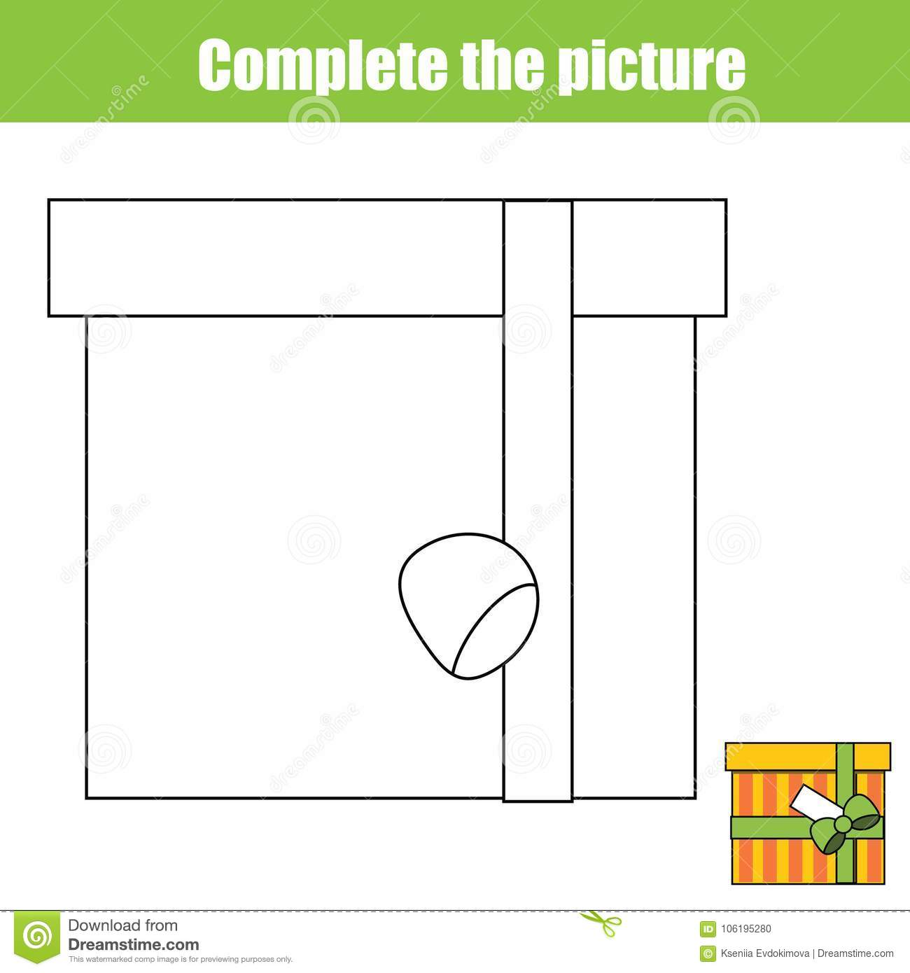 Complete The Picture Children Educational Game Coloring Page Kids Activity With T Box