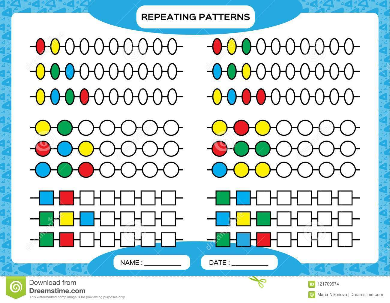 Complete Repeating Patterns Worksheet For Preschool Kids Practicing Motor Skills Improving