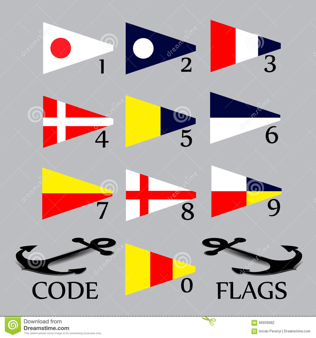Complete Set Of Nautical Flags For Numbers Stock Vector
