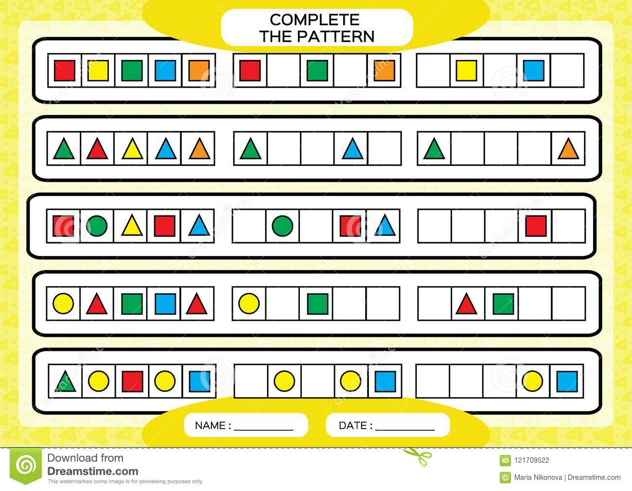 Complete Simple Repeating Patterns Worksheet For