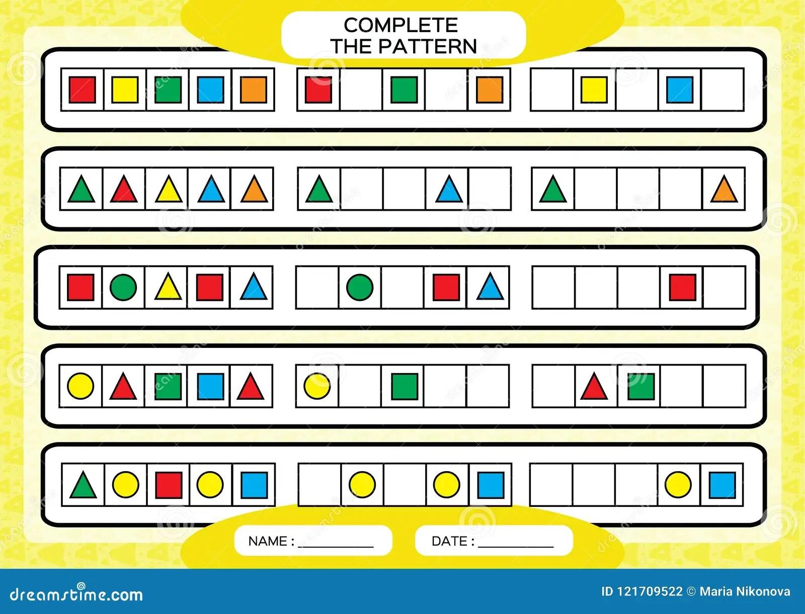 Repeating Patterns Worksheet Algebra