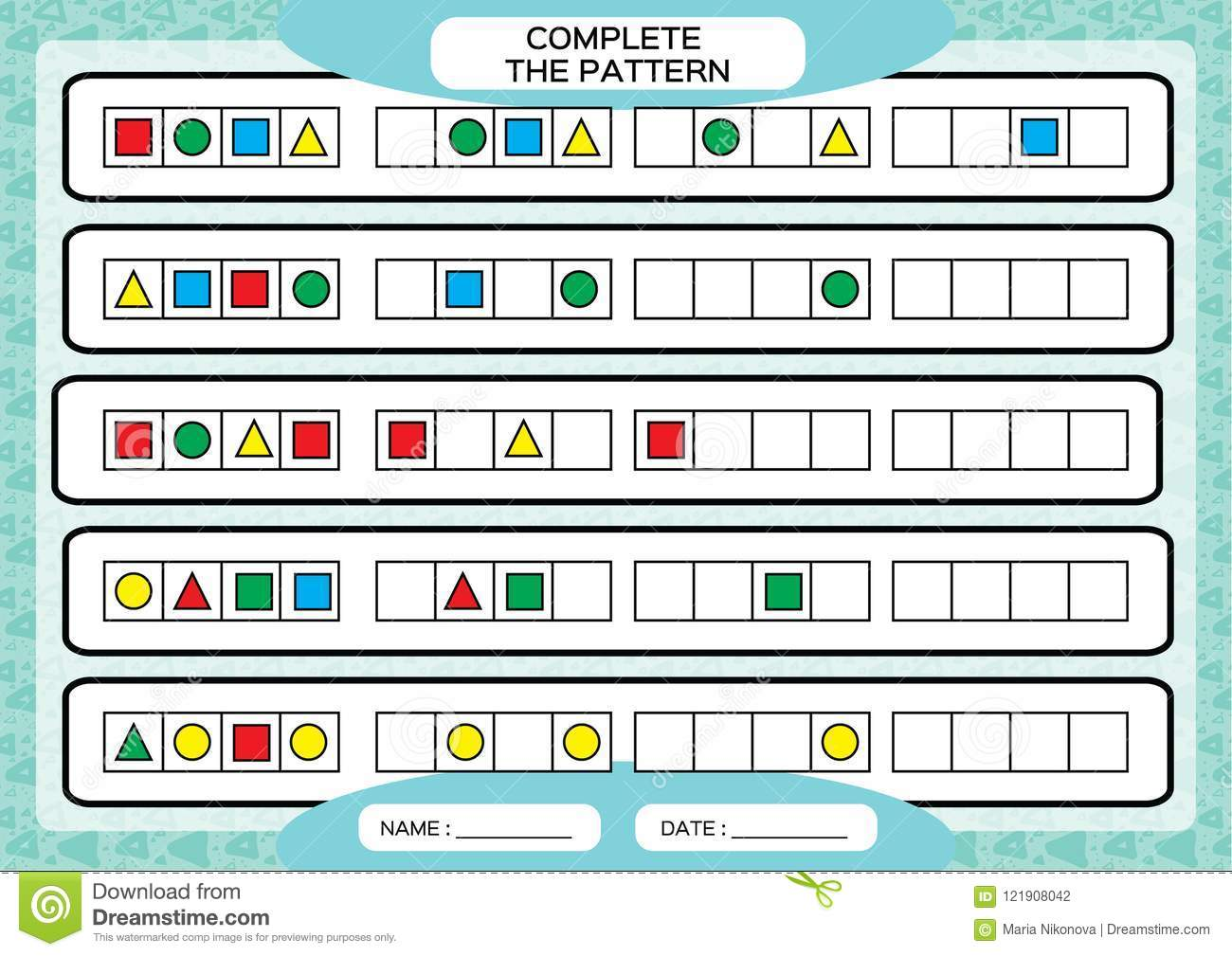 Printable Pattern Worksheet Preschool