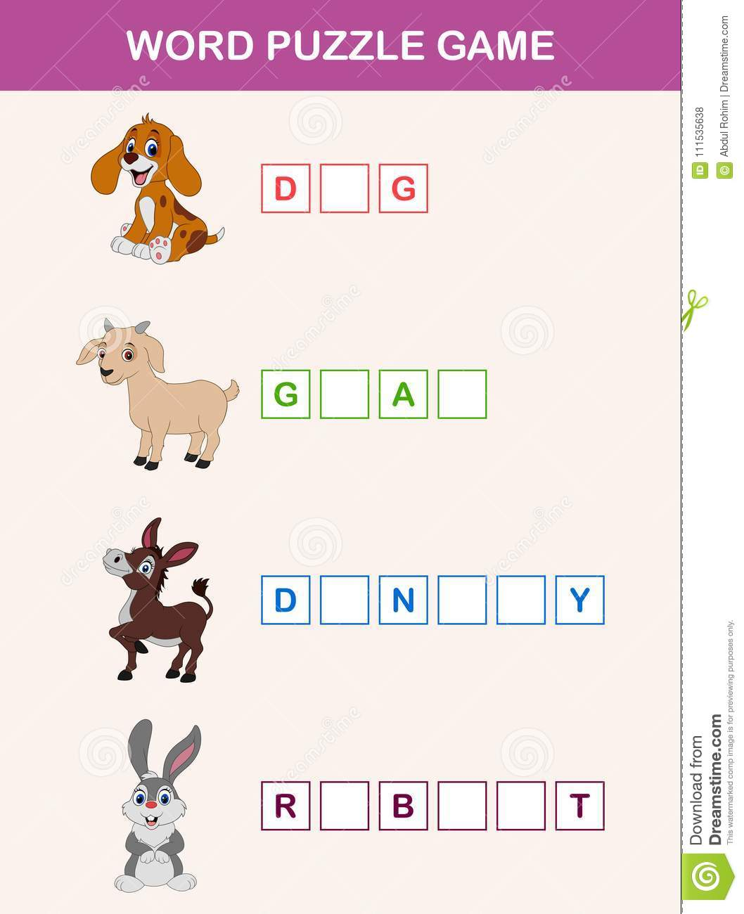 Complete The Words Children Educational Game Learning