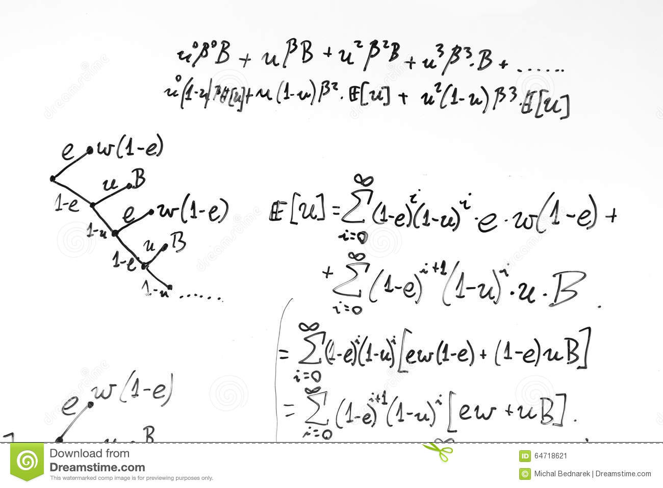Complex Math Formulas On Whiteboard Mathematics And Science With Economics Stock Photo