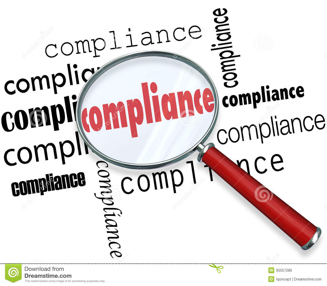 Compliance Words Magnifying Glass Rules Regulations Stock