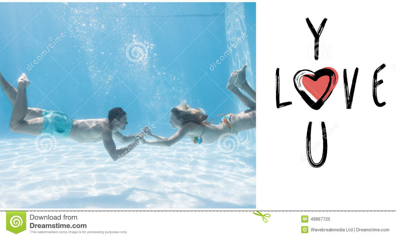 Composite Image Of Cute Couple Holding Hands Underwater In