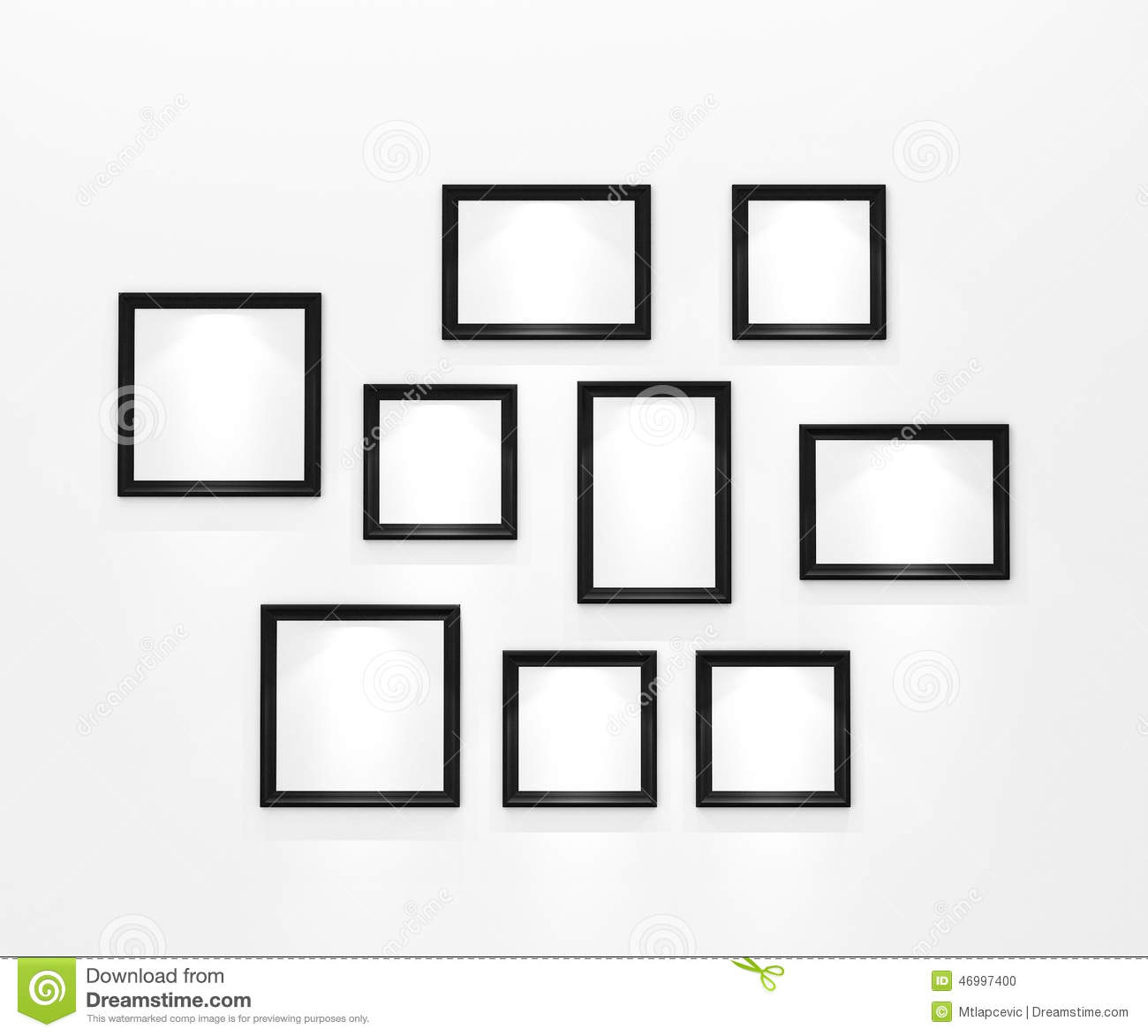 Composition Of Blank Black Picture Frames On White Wall