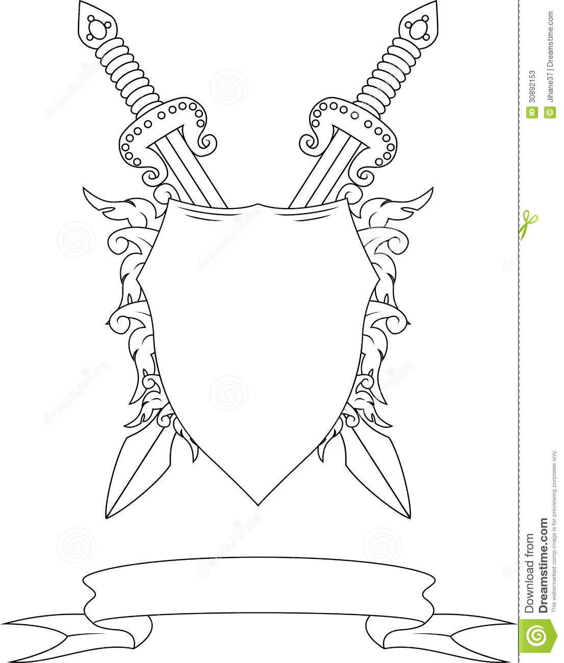 Composition With Crown Swords Badge And Ribbon Stock