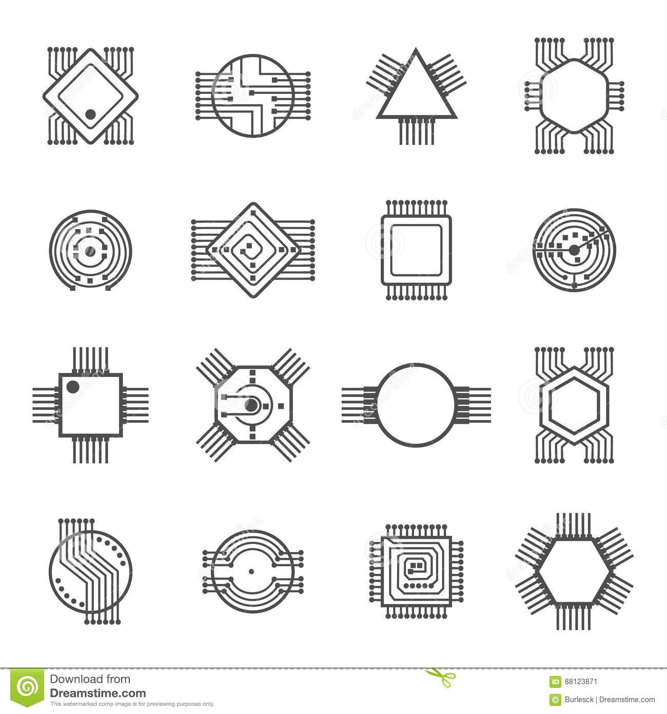 Computer Chip Icons Electronic Circuit And Processor