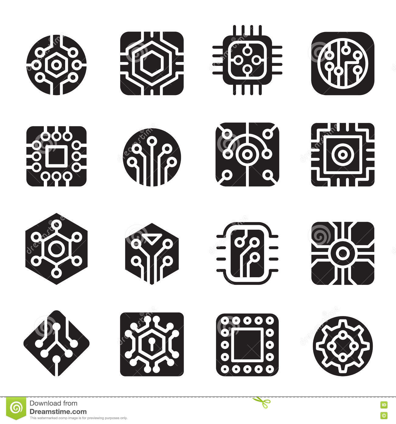Computer Chips And Electronic Circuit Icons Stock
