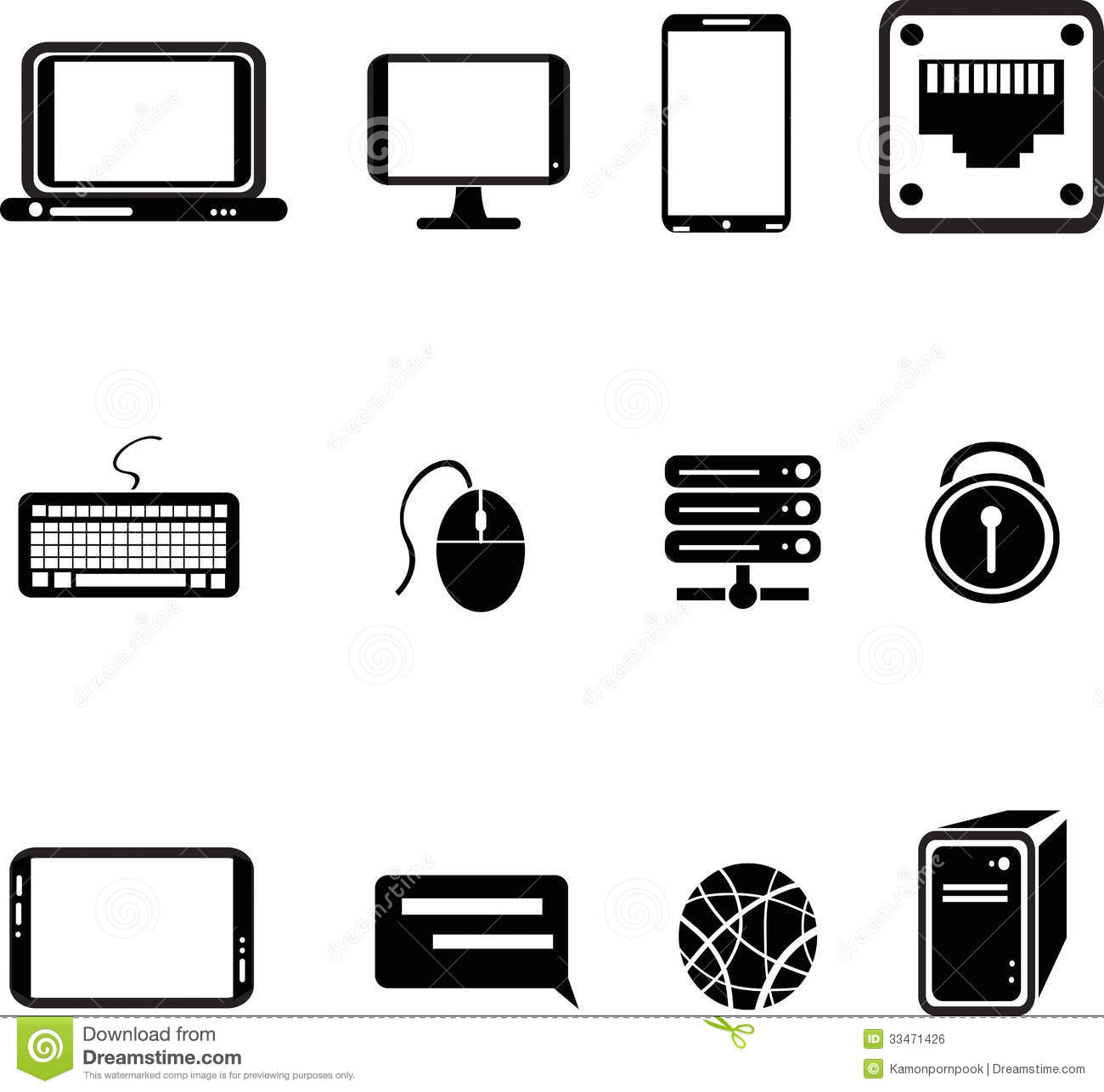 Computer Equipment Icons Royalty Free Stock Image
